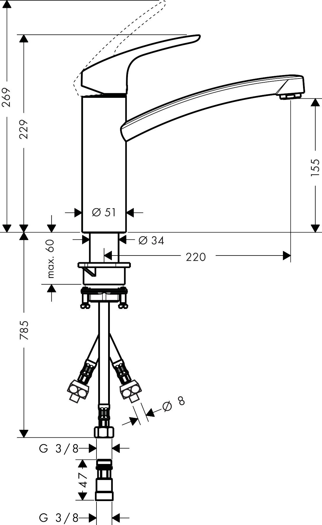 hansgrohe k chenmischer focus einhebel k chenmischer 160 f r offene warmwasserbereiter art. Black Bedroom Furniture Sets. Home Design Ideas