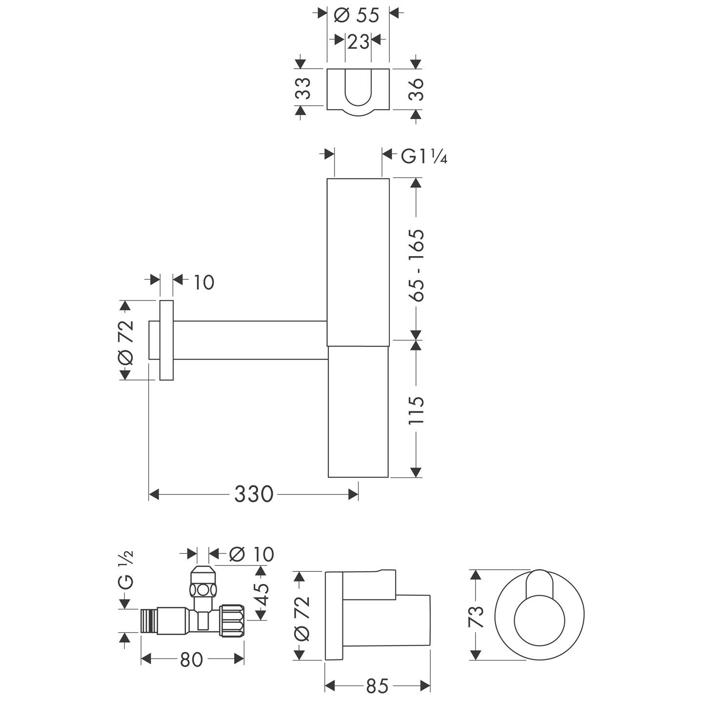 hansgrohe siphons eckventile designsifon flowstar set art nr 52120000 hansgrohe de. Black Bedroom Furniture Sets. Home Design Ideas