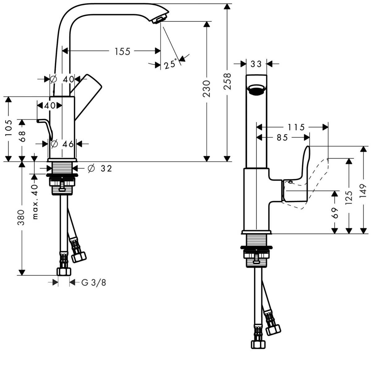 Metris Waschtischmischer Chrom Art Nr 31087000 Hansgrohe De