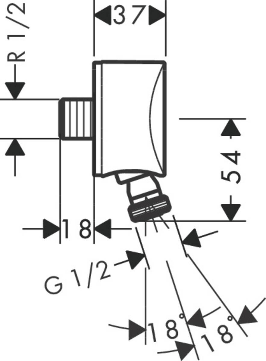 hansgrohe wandanschlussbogen fixfit wandanschluss s mit r ckflussverhinderer und kugelgelenk. Black Bedroom Furniture Sets. Home Design Ideas