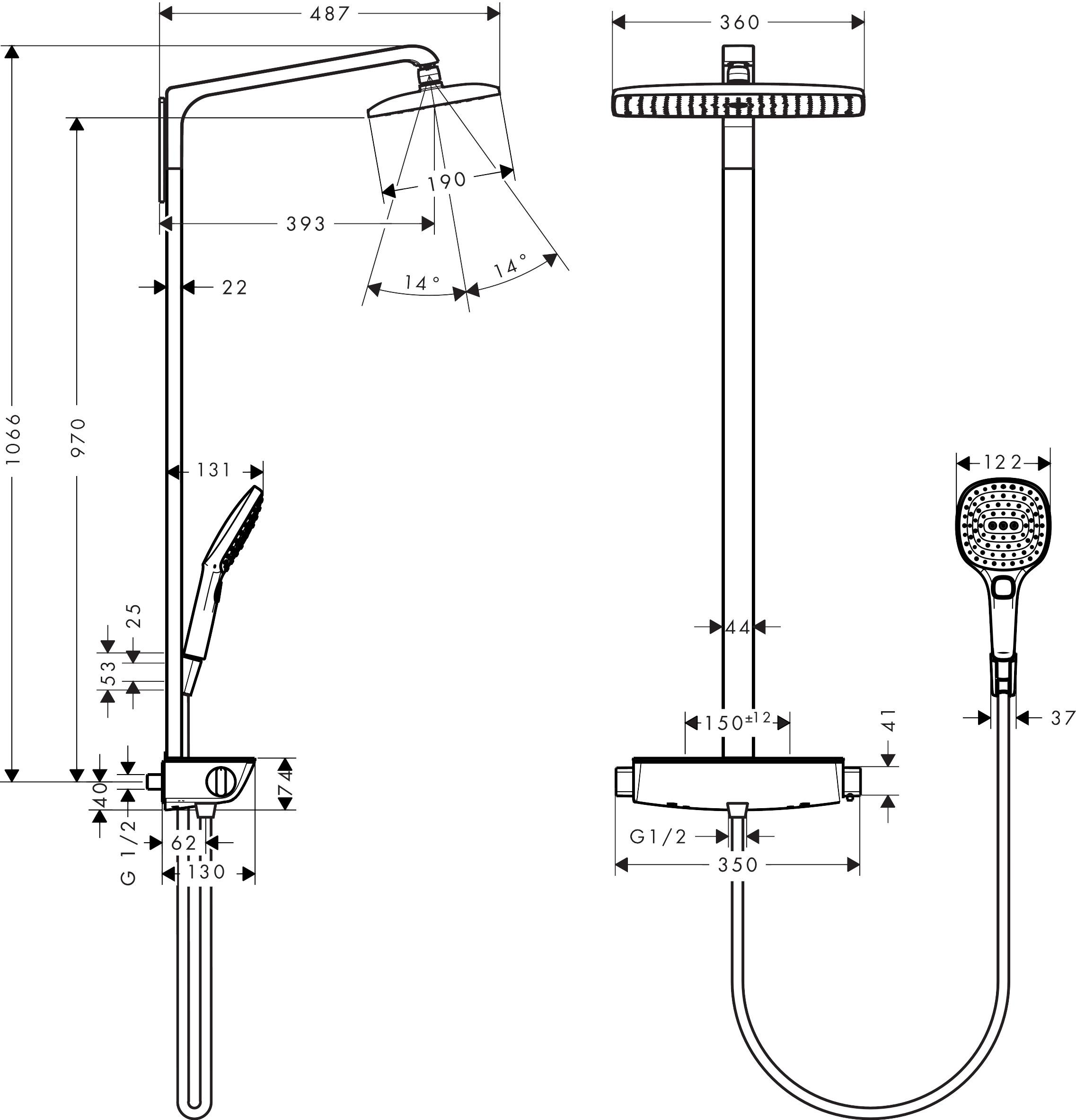 hansgrohe showerpipes raindance e 1 strahlart art nr. Black Bedroom Furniture Sets. Home Design Ideas