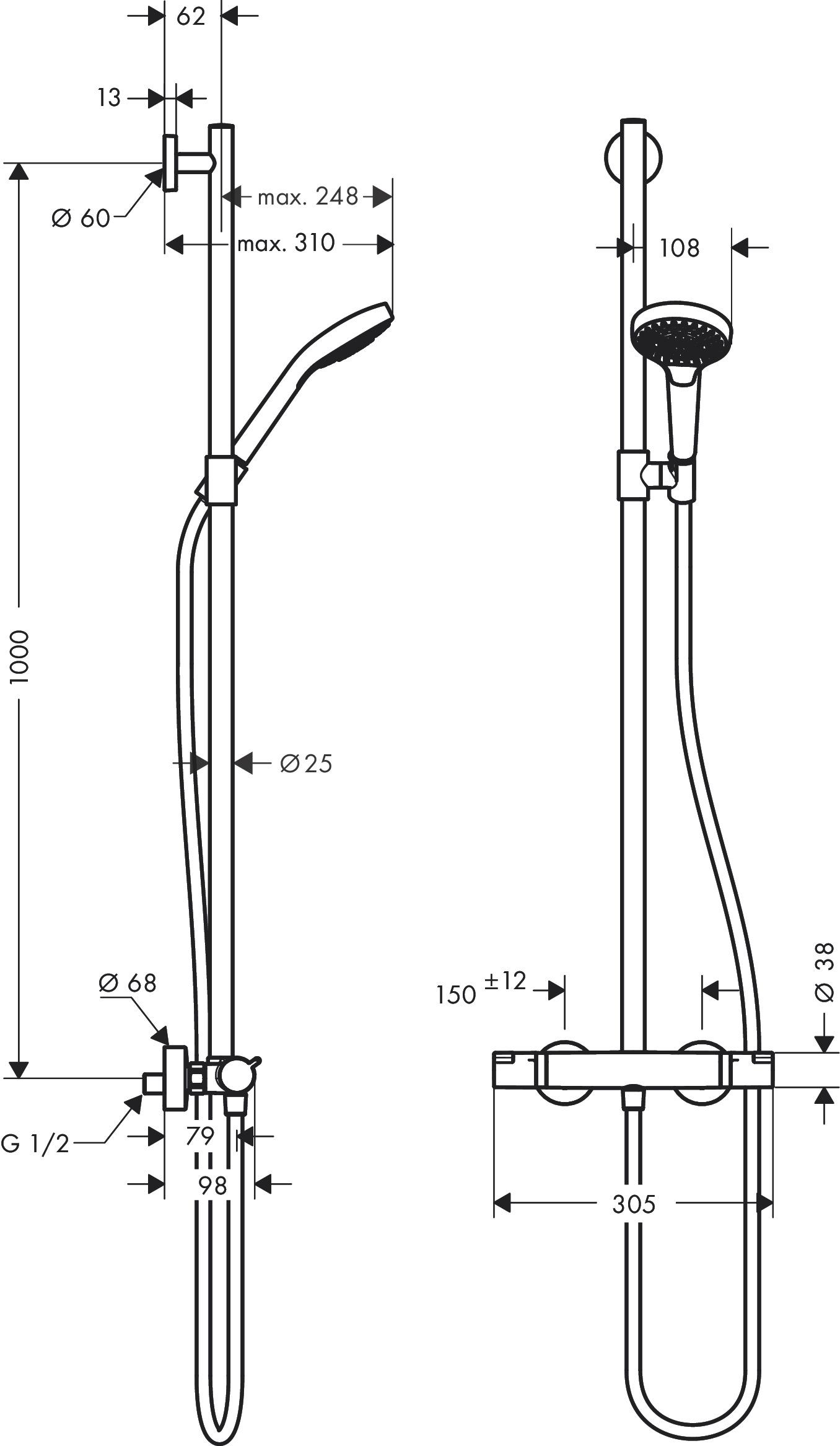 hansgrohe showerpipes croma select s art nr 27247400 hansgrohe de. Black Bedroom Furniture Sets. Home Design Ideas