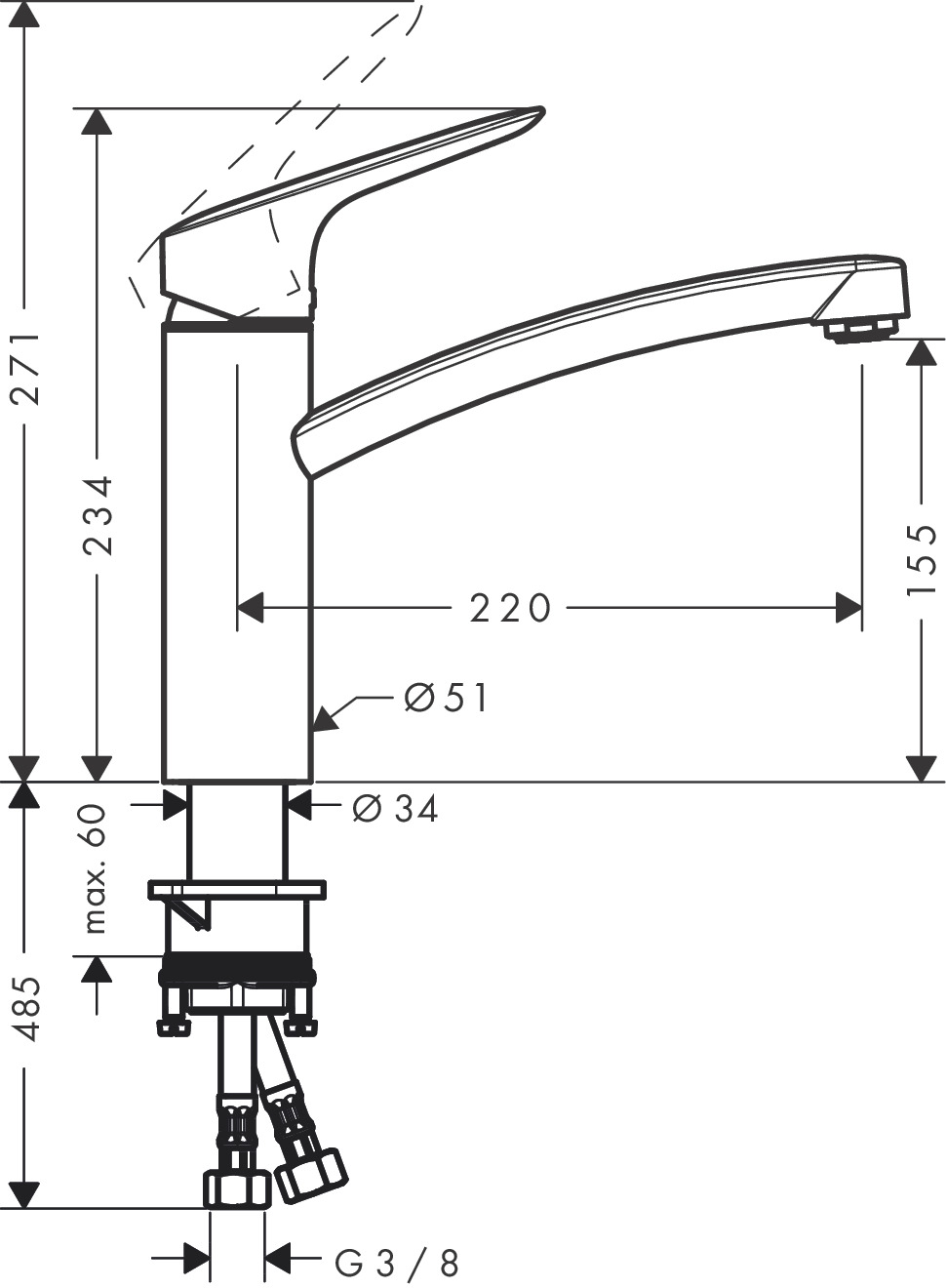 hansgrohe k chenmischer logis einhebel k chenmischer 160 coolstart art nr 71839000. Black Bedroom Furniture Sets. Home Design Ideas