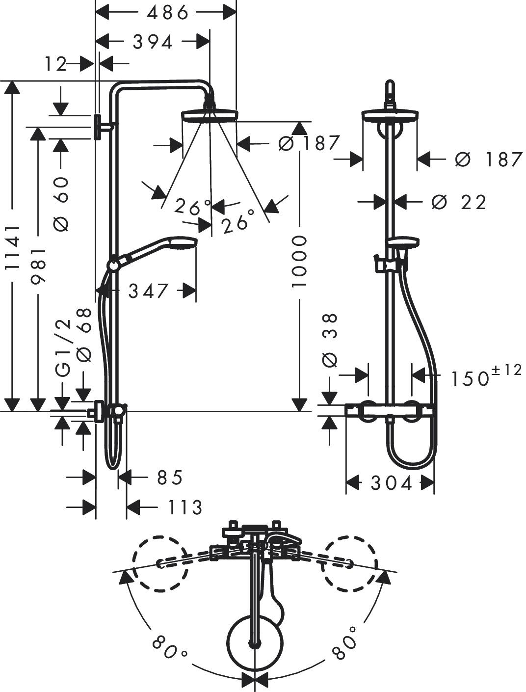 hansgrohe showerpipes croma select s 2 strahlarten art nr 27253400 hansgrohe de. Black Bedroom Furniture Sets. Home Design Ideas