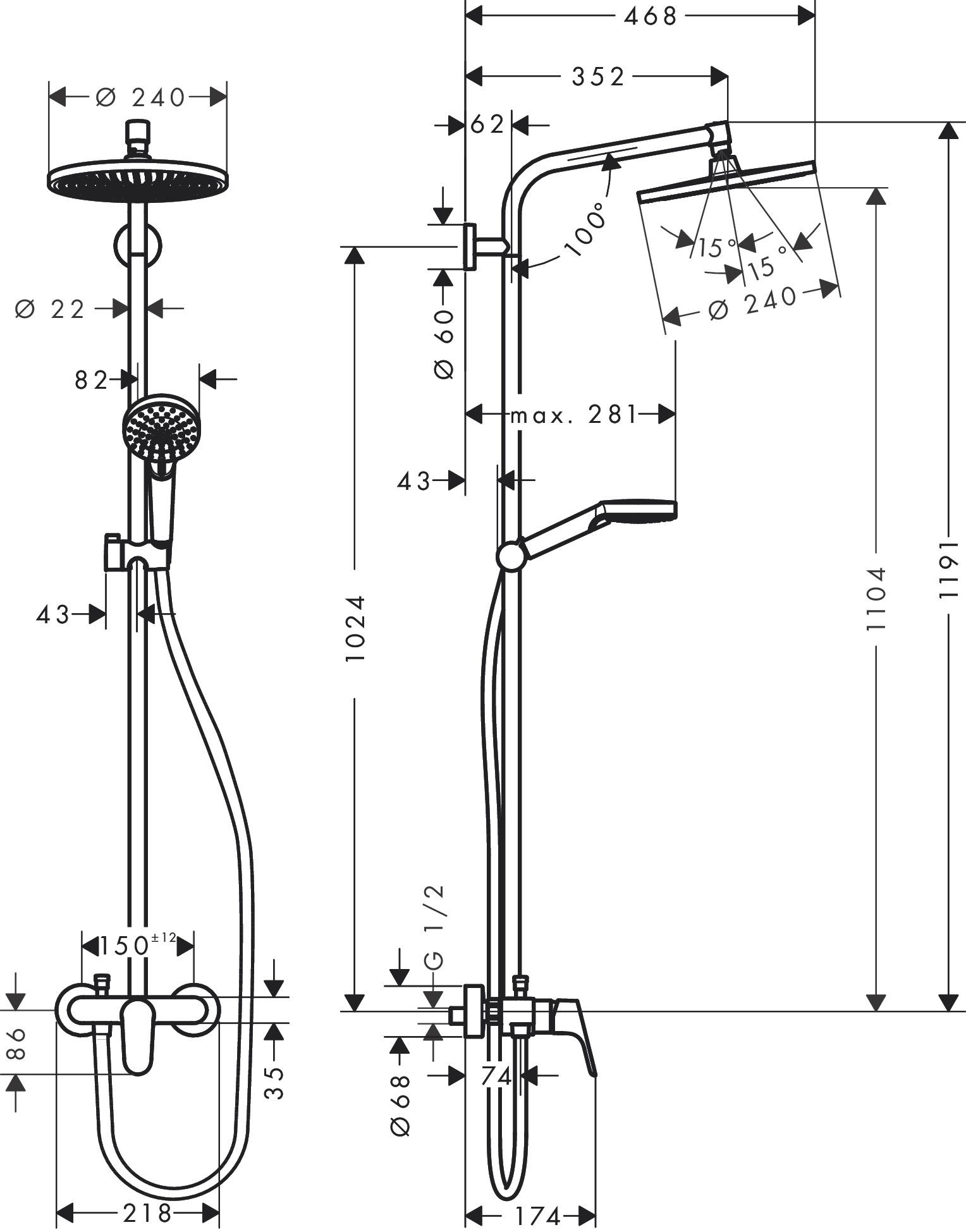 hansgrohe crometta crometta s 1 spray mode item no. Black Bedroom Furniture Sets. Home Design Ideas