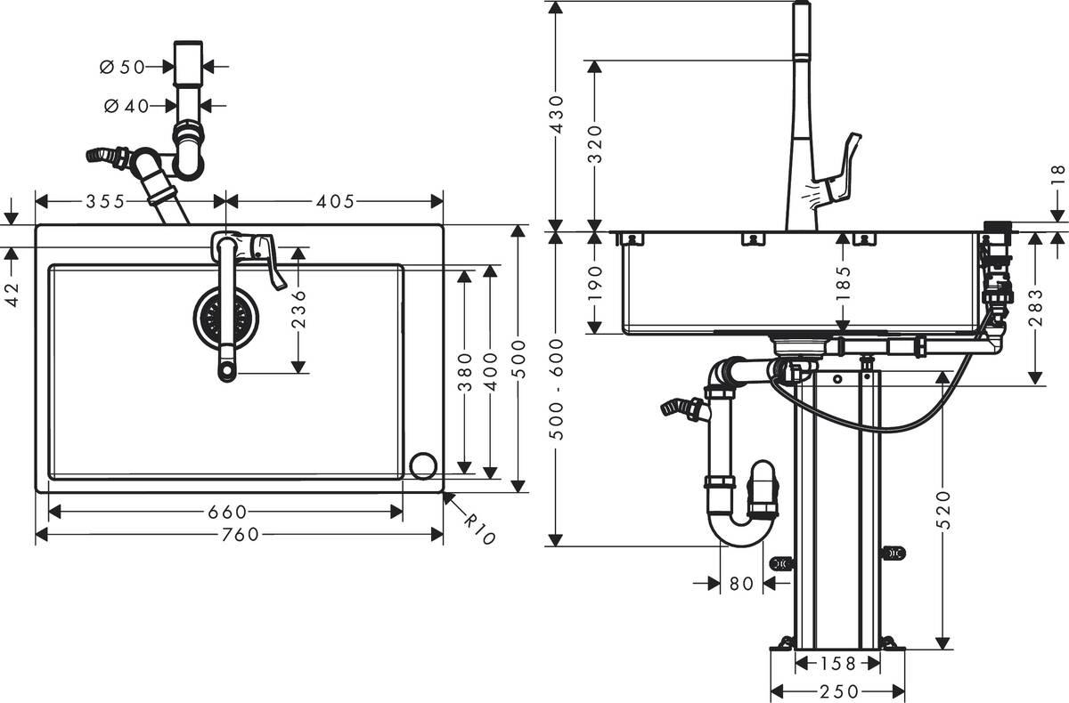 hansgrohe Sink combinations (bundle): C71, C71-F660-03