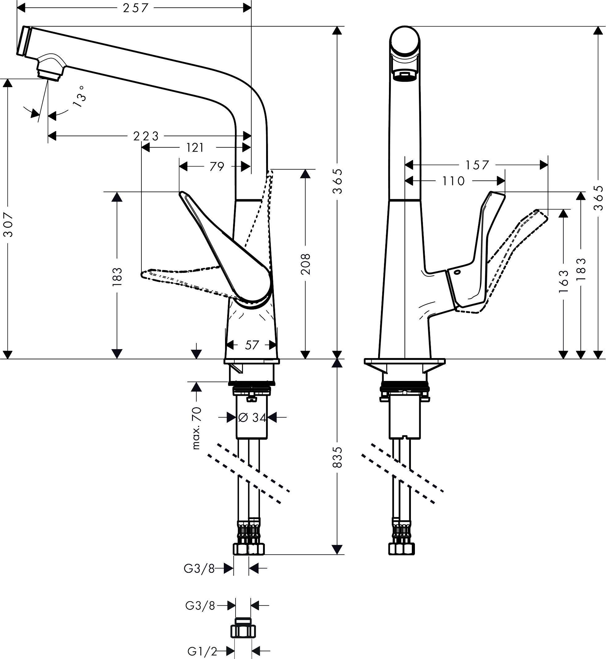 hansgrohe kitchen mixers  metris select  single lever
