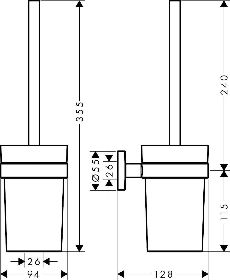 马桶刷的安装_汉斯格雅 Logis Universal, 洛捷丝通用马桶刷架, 货号 41722007 | hansgrohe CN