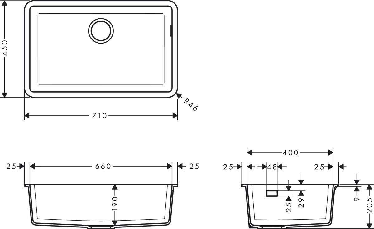 Hansgrohe Sinks S51 S510 U660 Undermount Sink 660 Item