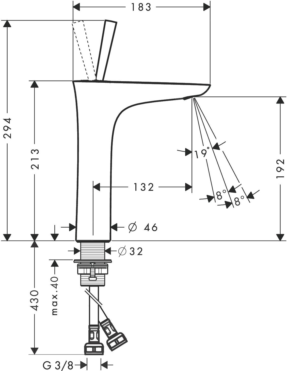 puravida waschtischmischer wei chrom art nr 15081400 hansgrohe de. Black Bedroom Furniture Sets. Home Design Ideas