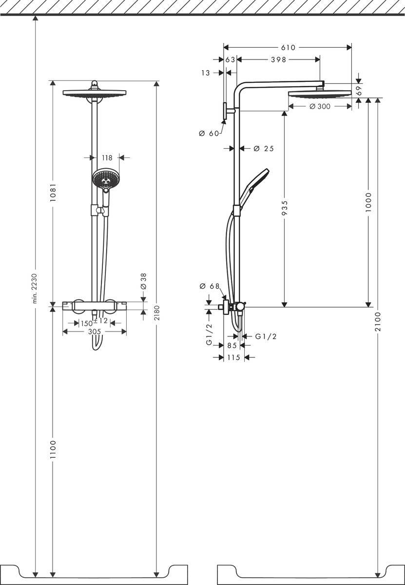hansgrohe showerpipes raindance select s 2 strahlarten art nr 27133400 hansgrohe de. Black Bedroom Furniture Sets. Home Design Ideas