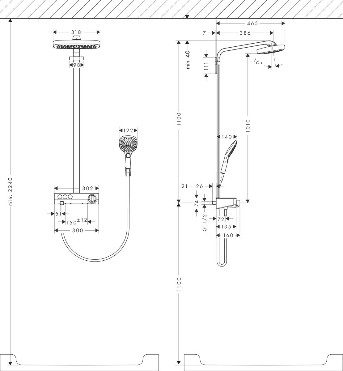 hansgrohe showerpipes raindance select e 3 strahlarten art nr 27127400 hansgrohe de. Black Bedroom Furniture Sets. Home Design Ideas
