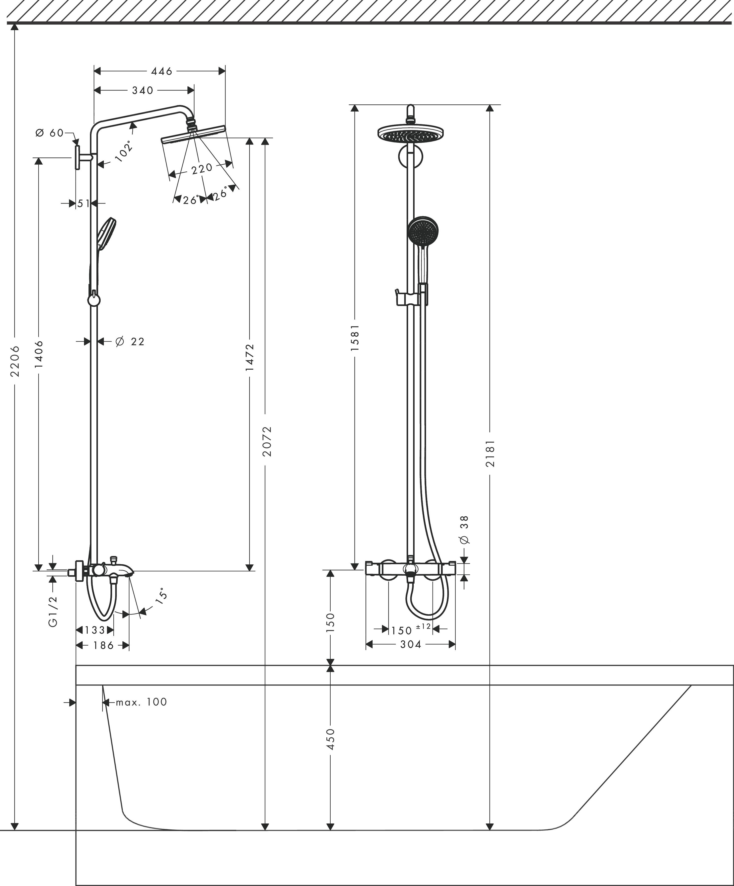 hansgrohe showerpipes croma 1 strahlart art nr 27223000 hansgrohe de. Black Bedroom Furniture Sets. Home Design Ideas