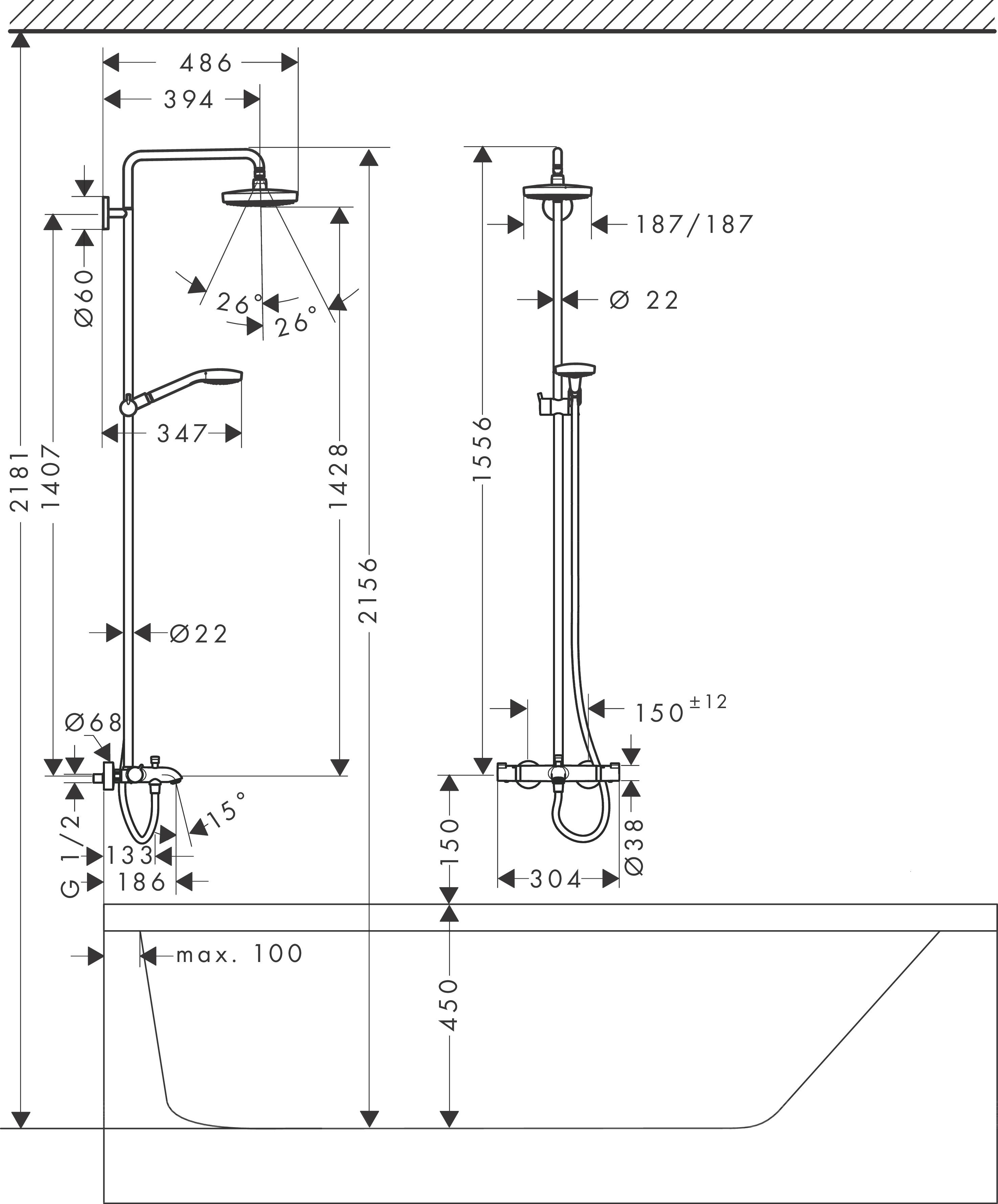 hansgrohe showerpipes croma select e 2 strahlarten art nr 27352400 hansgrohe de. Black Bedroom Furniture Sets. Home Design Ideas