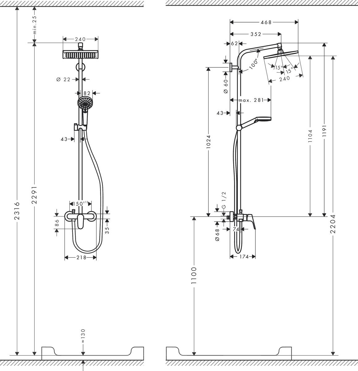 hansgrohe showerpipes crometta e 1 strahlart art nr 27284000 hansgrohe de. Black Bedroom Furniture Sets. Home Design Ideas
