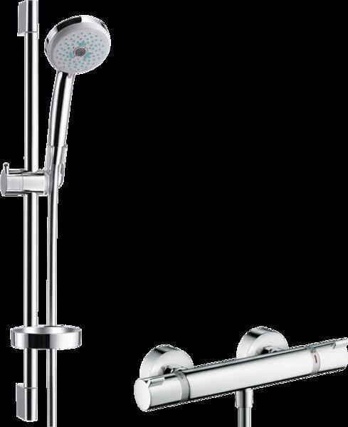 明装淋浴系统 多功能带易斯达舒适恒温龙头和升降杆65cm