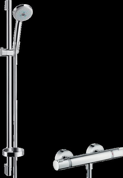 明装淋浴系统 多功能带易斯达舒适恒温龙头和升降杆90cm