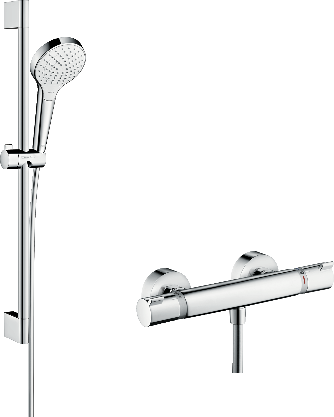 Hansgrohe Shower Combination Croma Select S Shower System For Exposed Installation Vario With Ecostat Comfort Thermostat And Shower Bar 65 Cm Item No 27013400 Hansgrohe Int