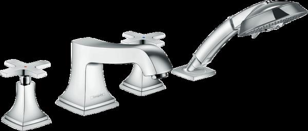 四孔翻边安装浴缸龙头 十字把手