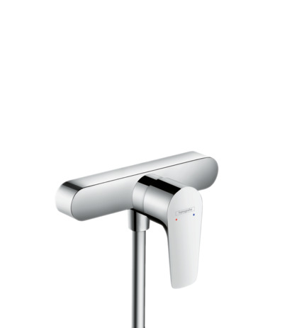 Single lever shower mixer for exposed installation with centre distance 15.3 cm