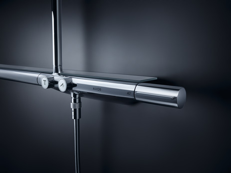 Showerpipe with thermostatic mixer 800 and 1jet overhead shower 350