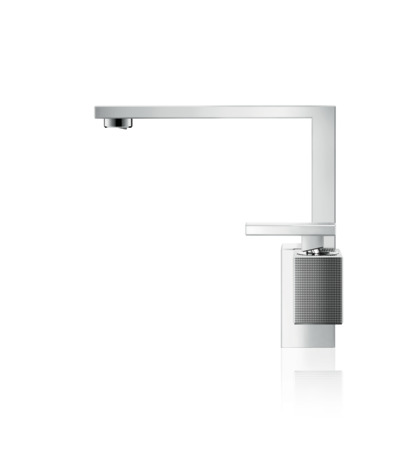 Single lever basin mixer 190 with push-open waste set - diamond cut