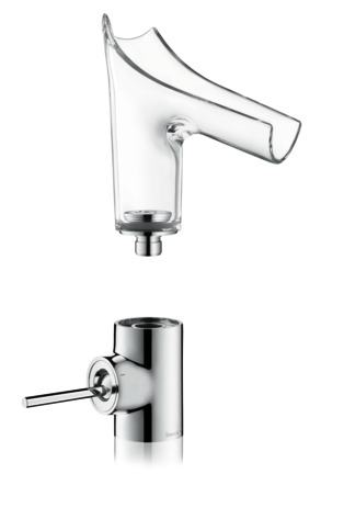 Single lever basin mixer 140 with glass spout without waste