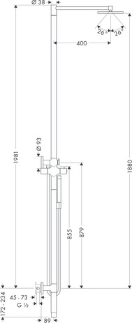 Shower column with thermostatic mixer and plate 1jet overhead shower 240