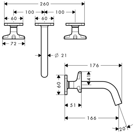 3-hole basin mixer for concealed installation wall-mounted with spout 166 mm, star handles and escutcheons