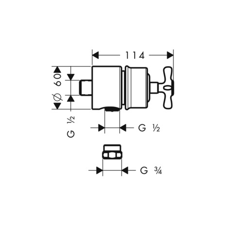Wall outlet stop with non return valve, shut-off valve and cross handle