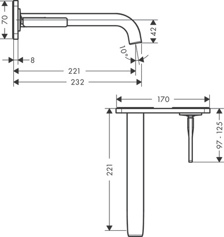 Single lever basin mixer wall-mounted with pin handle, spout 221 mm and plate