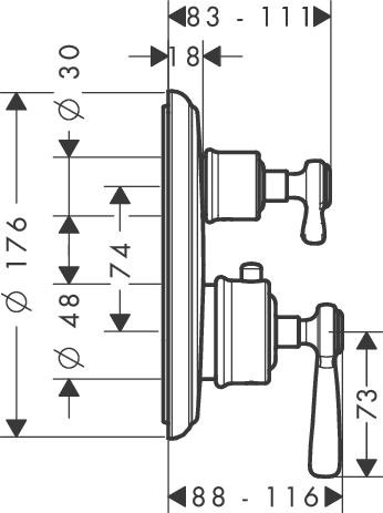Thermostat for concealed installation with lever landle and shut-off/ diverter valve
