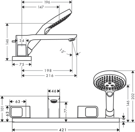 4-hole tile mounted bath mixer