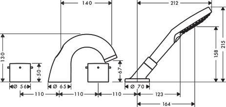 axor starck wannenarmaturen 2 verbraucher chrom 10444000. Black Bedroom Furniture Sets. Home Design Ideas