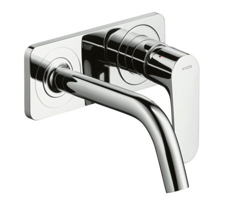 Single lever basin mixer with plate and 167 mm spout, wall-mounted