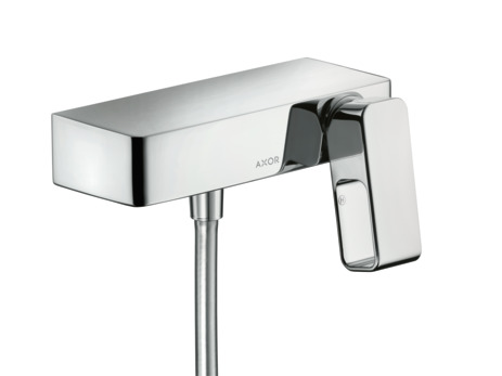 Single lever shower mixer for exposed installation