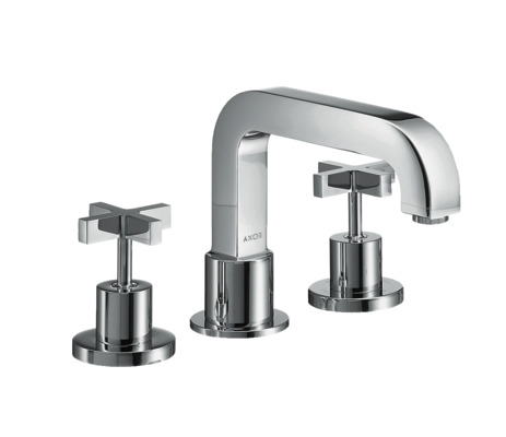 3-hole rim mounted bath mixer with cross handles