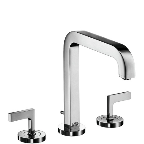 3-hole basin mixer 170 with spout 205 mm, lever handles, escutcheons and pop-up waste