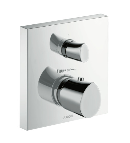 Thermostatic mixer for concealed installation with shut-off valve