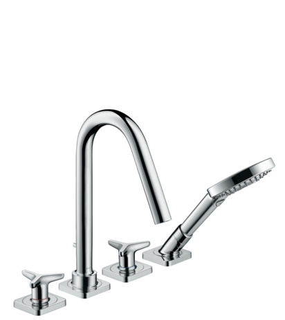 4-hole tile mounted bath mixer with star handles and escutcheons