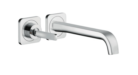 Single lever basin mixer wall-mounted with pin handle, spout 221 mm and escutcheons