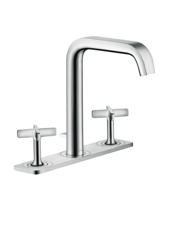 3-hole basin mixer 170 with plate and pop-up waste set