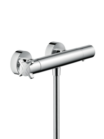 Thermostatic shower mixer for exposed installation