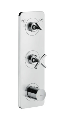 Thermostatic module 380/120 for concealed installation for 2 functions with plate
