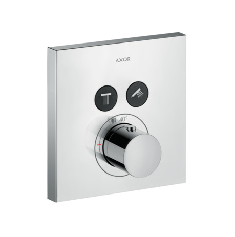 Thermostatic mixer square for concealed installation for 2 outlets