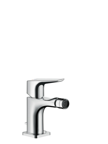 Single lever bidet mixer with lever handle and pop-up waste set
