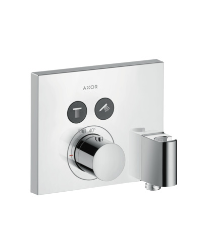Thermostat for concealed installation square for 2 functions with wall outlet and shower holder