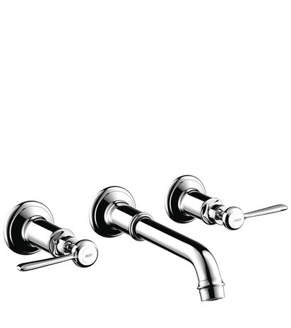 3-hole basin mixer for concealed installation wall-mounted with spout 165 - 225 mm and lever handles