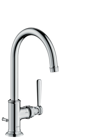 Single lever basin mixer 210 with lever handle and pop-up waste set