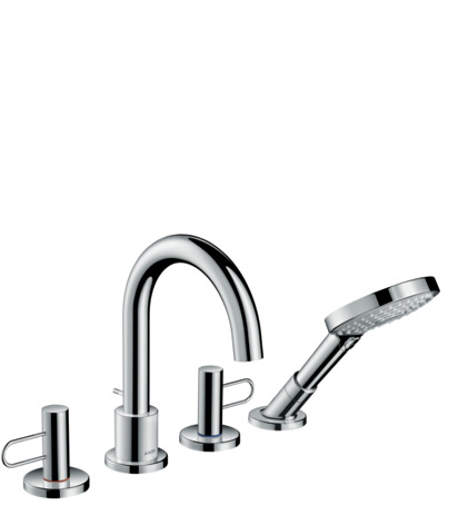 4-hole rim mounted bath mixer with loop handles